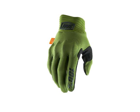 100% Cognito D30 Full Finger Gloves (Army Green/Black) (M)
