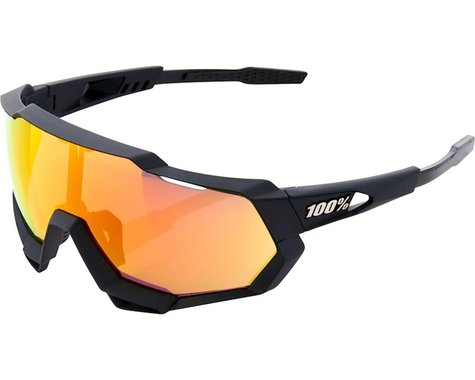 100% Speedtrap Sunglasses (Soft Tact Black) (HiPER Red Multilayer)