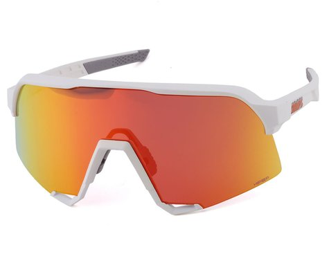 100% S3 Sunglasses (Soft Tact White) (HiPER Red Multilayer Mirror Lens)
