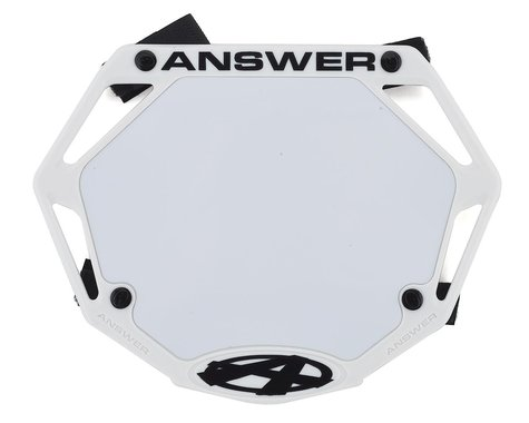 Answer 3D BMX Number Plate (White) (Mini)