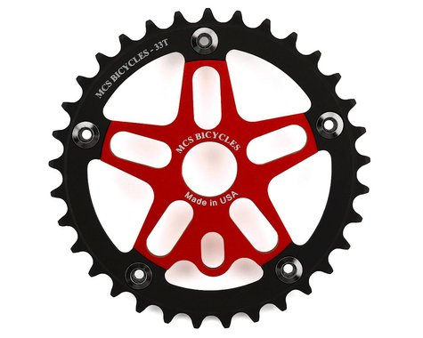 MCS Alloy Spider & Chainring Combo (Red/Black) (33T)