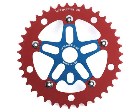 MCS Alloy Spider & Chainring Combo (Blue/Red) (39T)